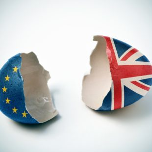 Brexit image. Great Britain and European painted eggs divided