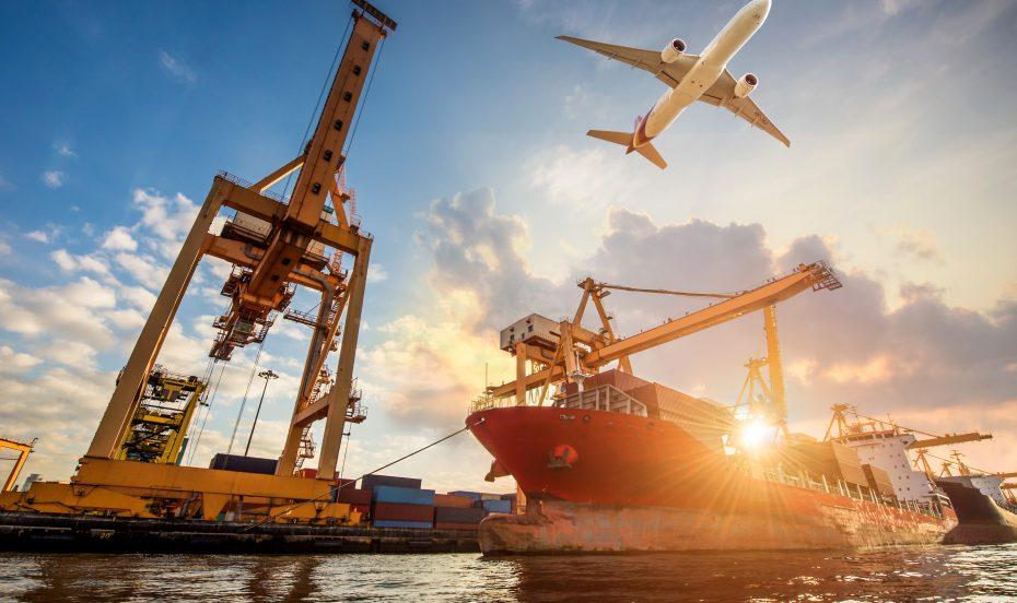 Customs control, boat, aeroplane and crain