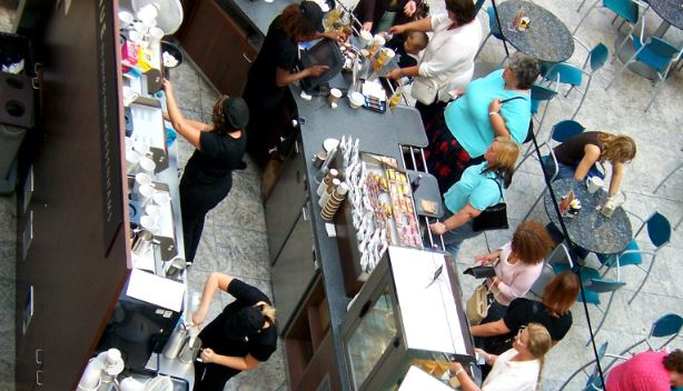 Cafe open for business, operating in the food sector
